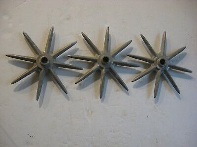 3 Pcs Vintage Industrial Cast Aluminum Spike Metal Wheels Gears Machine Age