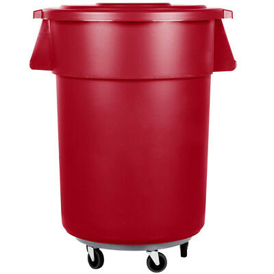 55 Gallon Carlisle Red Plastic Restaurant Kitchen Trash Can with Lid & Dolly