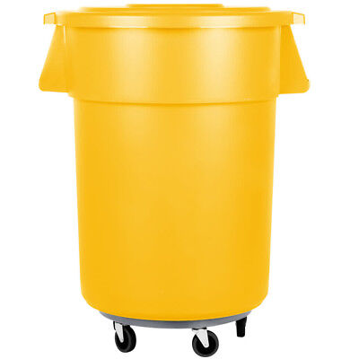55 Gallon Carlisle Yellow Plastic Restaurant Kitchen Trash Can with Lid & Dolly