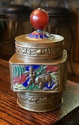 Antique Chinese Cloisonne Enamel and Brass Tea Caddy Jar With Red Finial