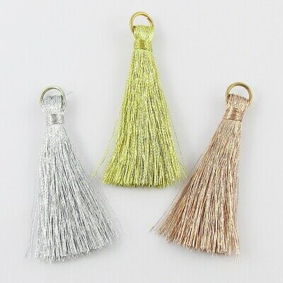 10pce Metallic Thread Tassel with Jumpring 45mm Select Bronze Silver or Gold