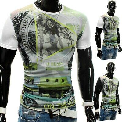 Men's summer t-shirt Stretch Slim Fit Club Wear Mesh Venice Beach Bar