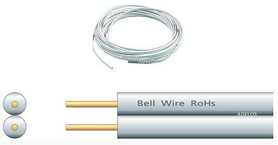 5 Metres Of White 2 Core Flat Door Bell Wire Flexible Cable