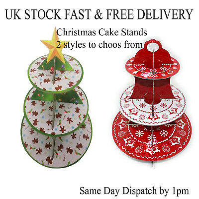 Cake Stand Christmas Xmas Festive Cupcake Muffin Dessert Holder Table Display