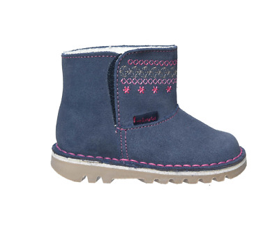 New  Girls Suede Leather Ankle Boots, Indigo Blue. Sizes Infant 4 - 13 Kids
