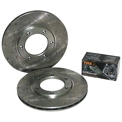 2 Slotted + Drilled Front Disc Rotors + Brake Pads suits Patrol MQ MK 160 GQ Y60