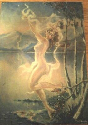 Original art nouveau oil on canvas  painting  of Nude Lady/Fairy  signed NY 1929