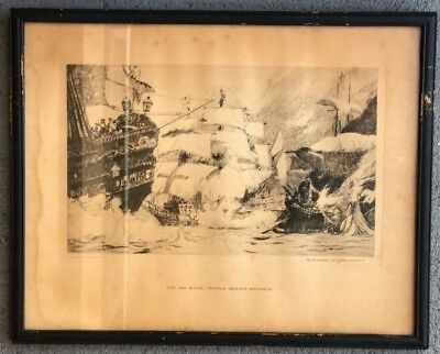 Norman Wilkinson 1938 Original National Geographic Society Etching The Ark Royal