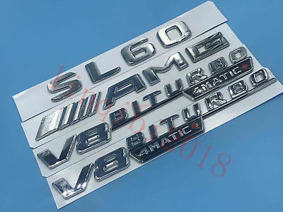 "Flat ""  SL60 AMG V8 BITURBO "" Letters Trunk Embl Badge Sticker for Mercedes Benz"