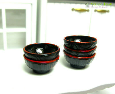 5 Dolls House Miniature Tableware Bowls Kitchen Dining Food Accessory 1:12 Toy