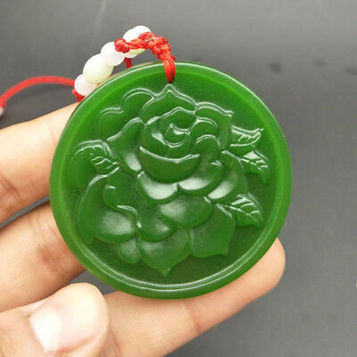 Natural Green Jade Necklace Pendant Lucky Amulet Jewelry Gemstone Peony Flowers