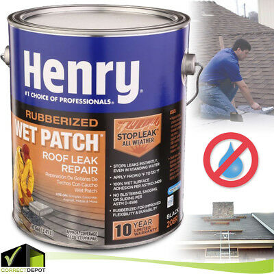 HENRY RUBBER WET PATCH Roof Cement Roofing Leak Repair Sealant Coating Sealer