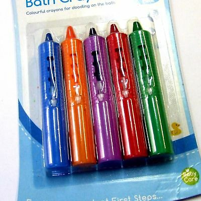 Kids Bath Crayons 5 Assorted Colours with Grip Mount Bathtime Play Fun Toy NEW