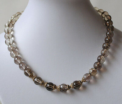Smoky Quartz Necklace, Gemstone Necklace with Faceted Smoky Quartz Balls