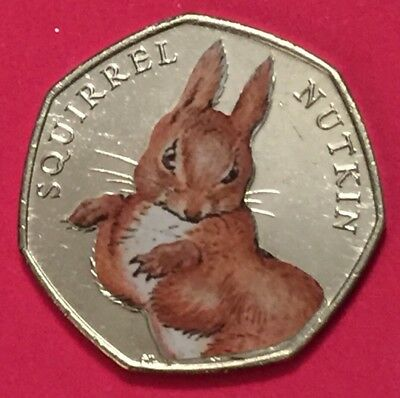 2016 Squirrel Nutkin 50p Coin From Sealed Bag UNC Coloured Decal Beatrix Potter