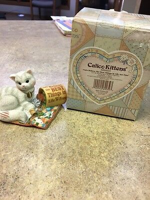 """Calico Kittens """"Cats Believe The Best Things In Life Are Free"""" Figurine With Box"""