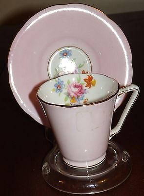 Hand Painted ROYAL GRAFTON Bone China Demitasse Teacup Saucer  ENGLAND
