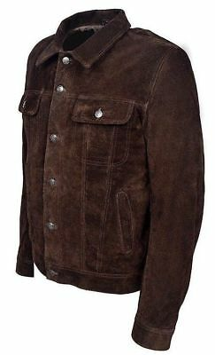 6bc632e01f4 Men BROWN SUEDE Leather TRUCKER Classic FITTING Western Leather Jacket Coat