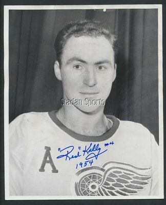Original Autographed Red Kelly -Detroit Red Wings   Hockey Press Photo 1954  COA