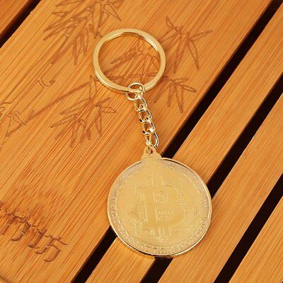 Golden Plated Bitcoin Round Commemorative Coin Pendant Keyrings qx
