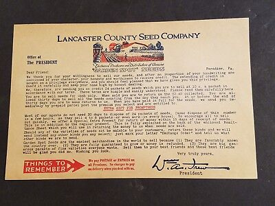 LANCASTER COUNTY SEED COMPANY  Advertisement Letter Paradise PA Garden Spot