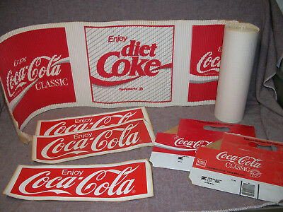 Vintage Coca Cola Stickers Preforated Banner and Bottle Carrier Advertising Lot