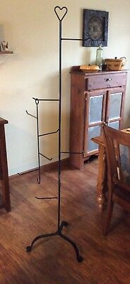 Black Wrought Iron Basket Collectables Tree Hanger Stand With Extension