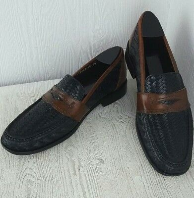 54965a6d77c  SALE  E.T. Wright Italy Men s Black Brown Woven Square Toe Penny Loafer Sz