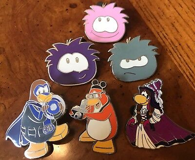 Disney Club Penguin Trading Pins Mystery  Princess Tourist & Puffle Lot Of 6