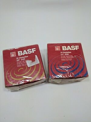 """NEW Lot Of 2 BASF 2DD 10 pack Floppy Disk 3.5"""" two sided double Density Disks"""
