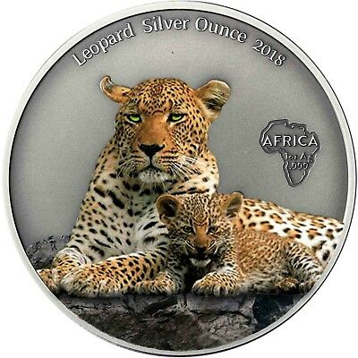 Kamerun 1000 Francs 2018 Leopard Silver Ounce Antique Finisch Münze in Farbe