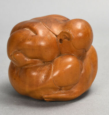 Hand Carved Wood Male Figure in Netsuke Yoga Contortionist Inspired Pose