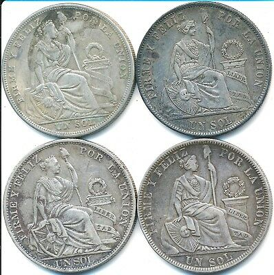 4 Large Silver One Sol Coins From Peru 1875-1923