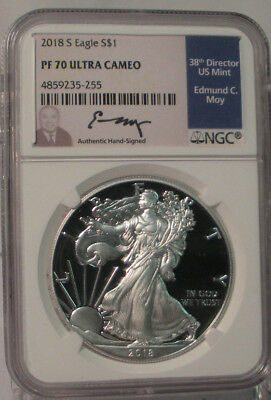 2018 S American Silver Eagle Ngc Pf70Ucam Ed Moy Hand Signed Perfect Proof