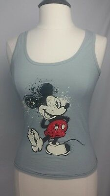 51326315cabc3 Womens Disney Mickey Mouse Tank Top ladies Black Sheer Silhouette sz M