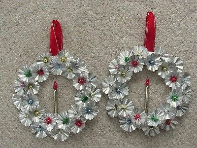 2 Vtg Christmas Kitsch Silver Aluminum and Mercury Glass Wreath great for window