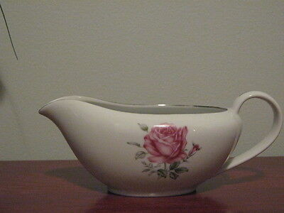 Vintage Fine China of Japan Imperial Rose Gravy Boat Platinum Trim