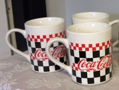 Coca Cola large mugs set of 4 by Gibson Housewares red black checks diner 1996