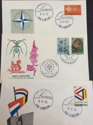 Luxembourg stamps Undressed FDC's x 3