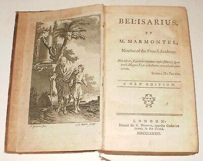 Very Rare Edition Antique Book Belisarius By M. Marmontel Dated 1783