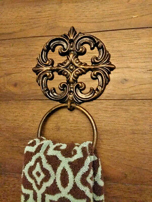 Iron, Towel Ring, Ornate Hand Towel Ring, Cast Iron, Old World, Tuscan, Fleur