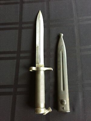 WWI Swedish Mauser 1896 Knife Chromed Bayonet with Scabbard