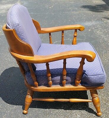 Vtg Mid Century Country Hunting Lodge Colonial Armchair w Cushions Ethan Allen ?