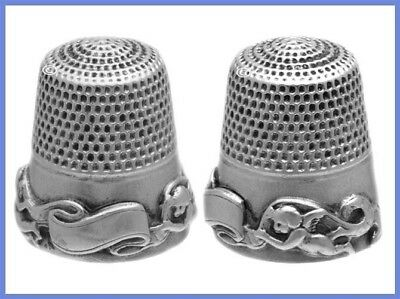 Fabulous Antique Sterling Silver Thimble 'Cupids with Banner' *C.1900s