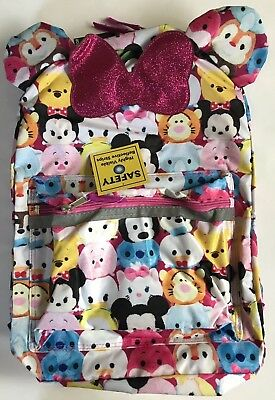 """16"""" Tsum Tsum Backpack With Front Pouch Faces Bow & Ears NEW"""