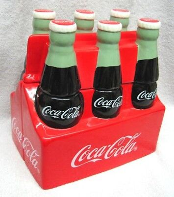 Classic Retro Coca-Cola 6 Pack Ceramic Cookie Jar By Gibson 2001, New - Must See