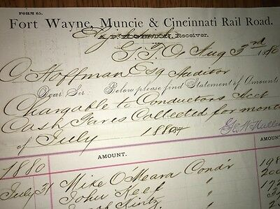Fort Wayne Muncie & Cincinnati Railroad Billhead 1880