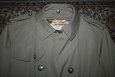 VINTAGE Brooks Brothers Tan Poplin Double Breasted Belted Trench Coat 42 X L