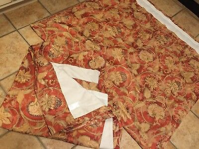 Jc Penney Home Floral Rust Brown Gold Green 2 Panels Long Drapes Curtain 49 X 86