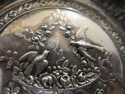PRETTY STERLING SILVER PIN TRAY...FRENCH ORIGIN....BIRDS and FLORAL FRUIT BASKET